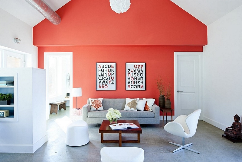 Coral reef sherwin williams color of the year 2015 for Coral walls living room